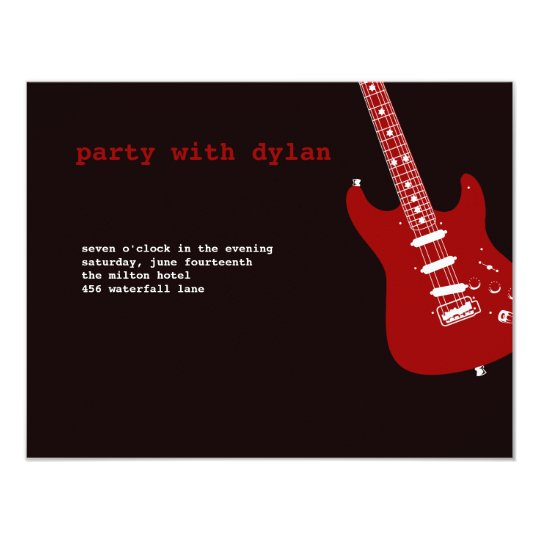 Music Rock Star Bar Mitzvah Reception Card