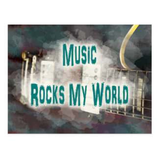 music rocks my world teal guitar grunged postcard