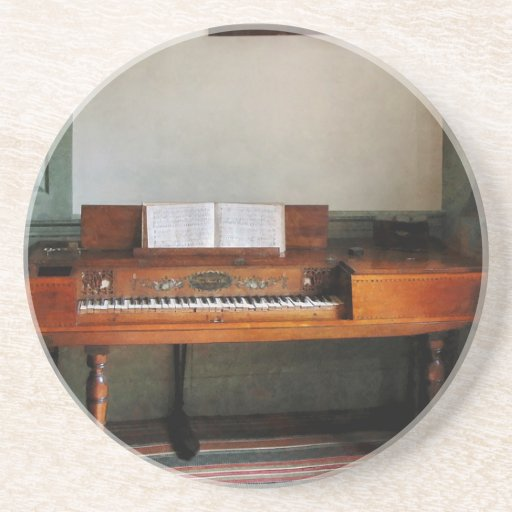 Music Room With Piano Drink Coaster