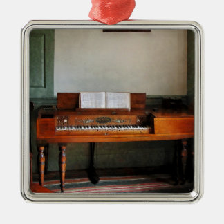 Music Room With Piano Square Metal Christmas Ornament