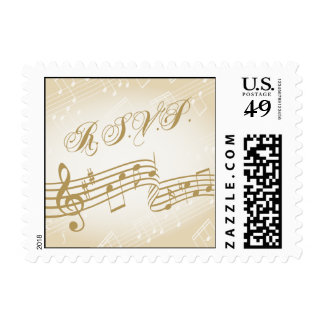 Music RSVP reply stamp Gold notes