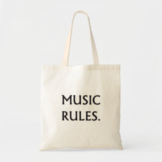 Music Rules black text Budget Tote Bag