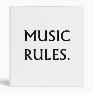 Music Rules black text 3 Ring Binders