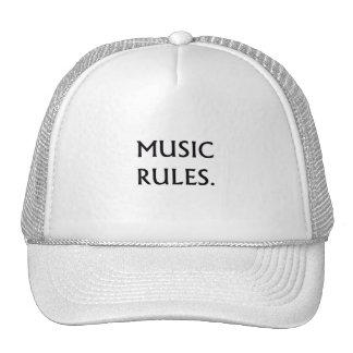 Music Rules black text Trucker Hats