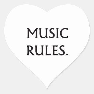 Music Rules black text Heart Sticker