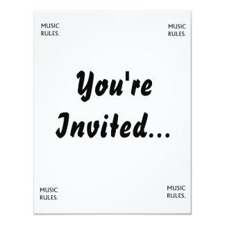 "Music Rules black text 4.25"" X 5.5"" Invitation Card"