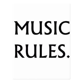 Music Rules black text Postcard