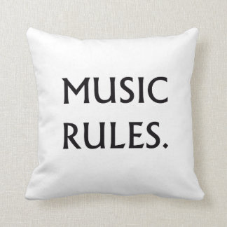 Music Rules black text Throw Pillow