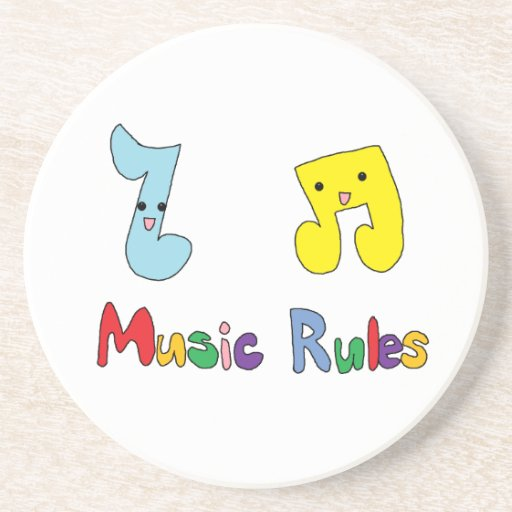 Music Rules Cute Music Notes Beverage Coasters