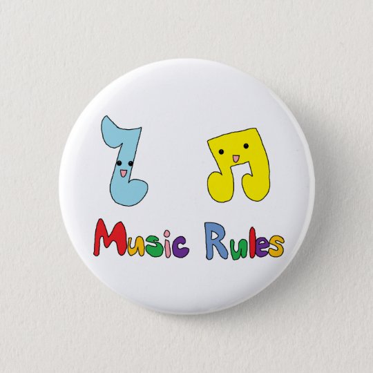 Music Rules Cute Music Notes Button
