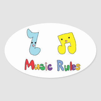 Music Rules Cute Music Notes Oval Sticker