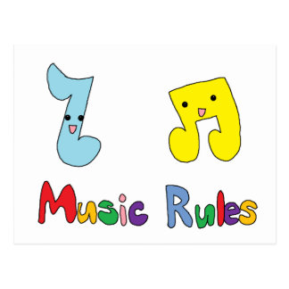 Music Rules Cute Music Notes Post Card