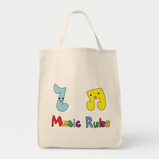 Music Rules Cute Music Notes Tote Bag
