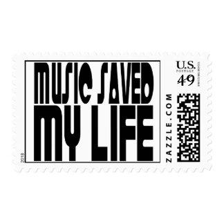 MUSIC SAVED MY LIFE POSTAGE STAMPS
