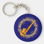 Music saxophone music sax saxophones basic round button keychain