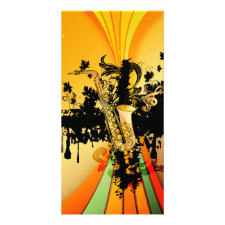 Music, saxophone photo card