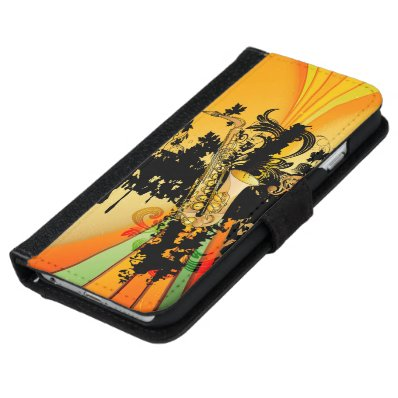 Music, saxophone wallet phone case for iPhone 6/6S