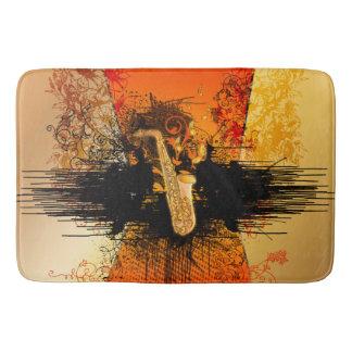 Music, saxophone with grunge bath mat