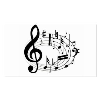 Music Scale Music Notes Black & White Double-Sided Standard Business Cards (Pack Of 100)