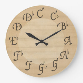 Music Scale of Notes with Flats, Antique Look Large Clock