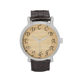 Music Scale of Notes with Flats Antique Look Watches