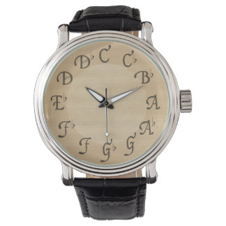 Music Scale of Notes with Flats, Antique Look Wrist Watch