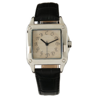 Music Scale of Notes with Sharps, Antique Look Wrist Watch
