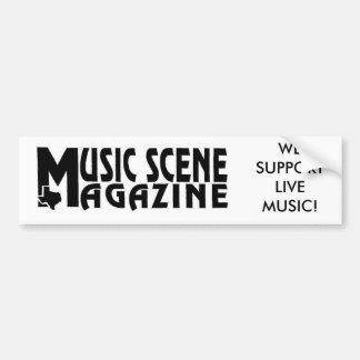 MUSIC-SCENE-LOGO, WE SUPPORT LIVE MUSIC! CAR BUMPER STICKER