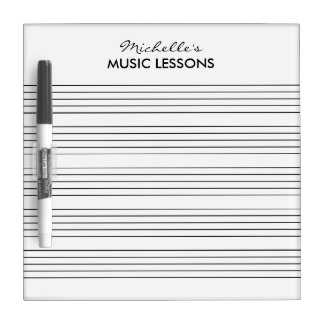 Music score dry erase board for instrument teacher