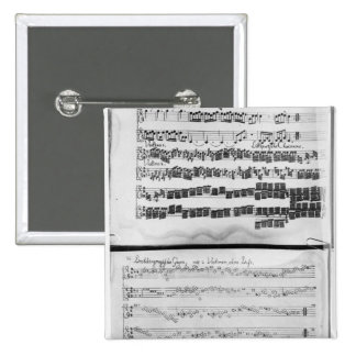 Music score for Telemann's Suite for two Pinback Button