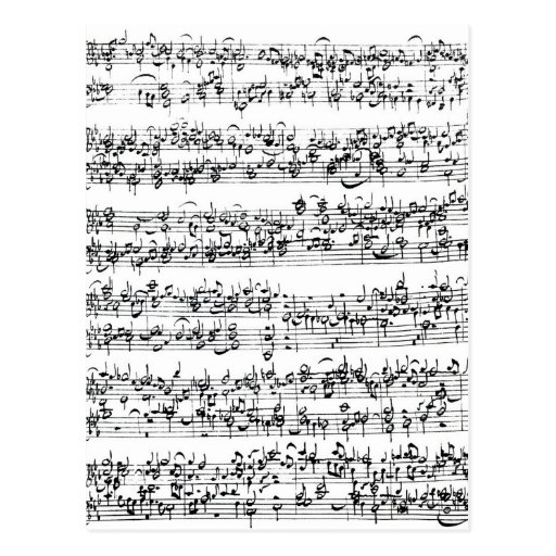 Music Score of Johann Sebastian Bach Postcard