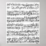 Music Score of Johann Sebastian Bach Print