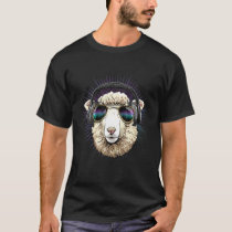 Music Sheep Dj With Headphones Musical Sheep Lover T-Shirt