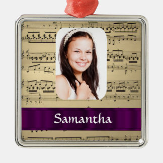 Music sheet personalized photo template metal ornament