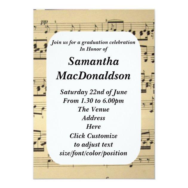 Music sheet photo graduation 5x7 paper invitation card (back side)