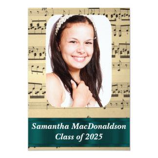 "Music sheet photo graduation 5"" x 7"" invitation card"
