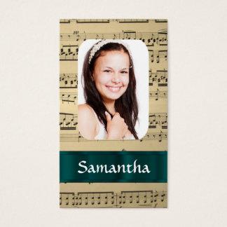 Music sheet photo template business card
