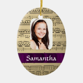 Music sheet photo template ceramic ornament
