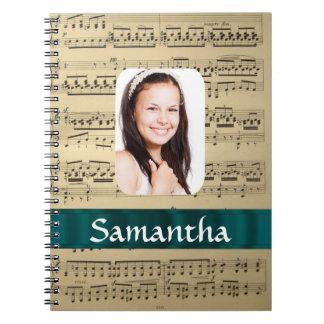 Music sheet photo template spiral notebook