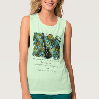 Music should strike fire from the heart of man flowy muscle tank top