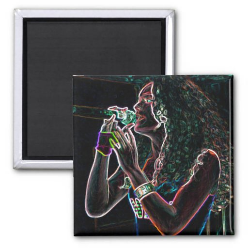 music singer microphone pretty girl 2 inch square magnet