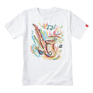 Music - Sketched Colorful Saxophone Zazzle HEART T-Shirt at Zazzle