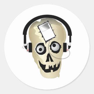 Music Skull Classic Round Sticker