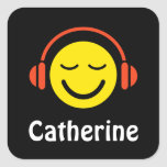 Music smiley with headphones name stickers/tags square sticker
