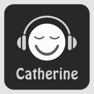 Music smiley with headphones personalized name square sticker