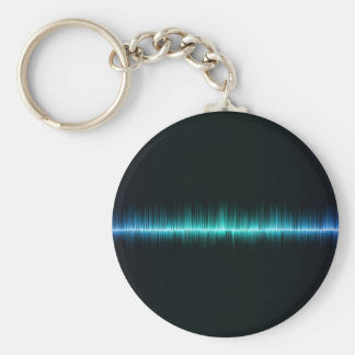 music sound waves science basic round button keychain