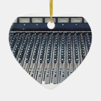 Music soundboard sound board mixer Double-Sided heart ceramic christmas ornament