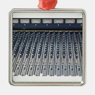 Music soundboard sound board mixer square metal christmas ornament