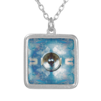 Music speaker and cloudy blue sky silver plated necklace