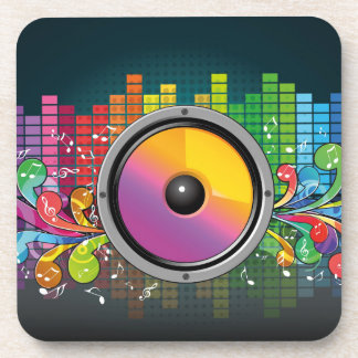 Music speaker colorful artistic illustration beverage coaster